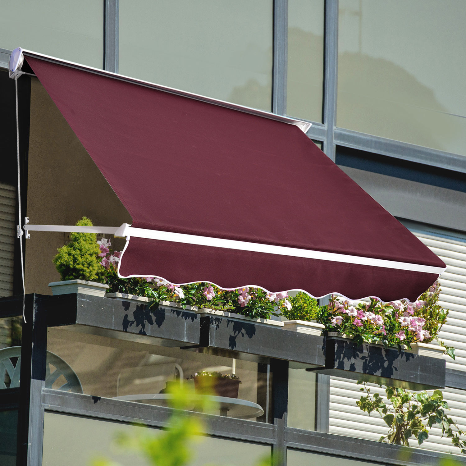 13x8 awning canopy sunshade shelter manual patio deck retractable