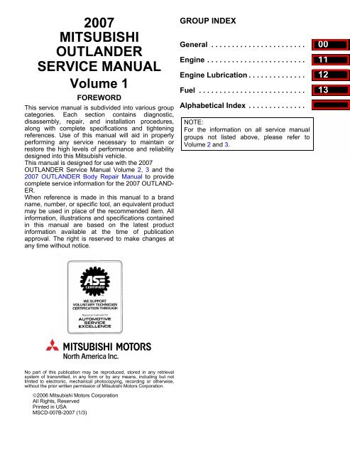 2007 mitsubishi outlander warranty and maintenance manual