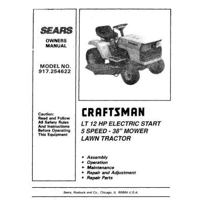 craftsman 13.5hp 38 lawn tractor manuals