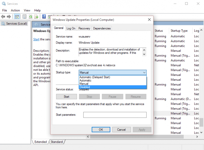 windows 10 manually disable updates